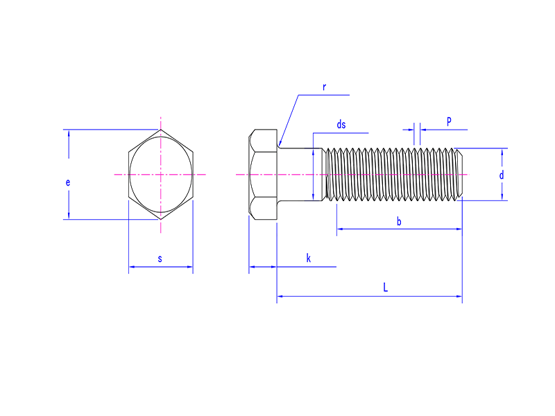 heavy hex bolt drawing